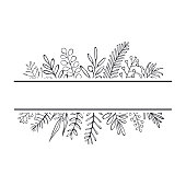 floral hand drawn farmhouse style outlined twigs branches frame