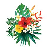 Abstract watercolor hand painted composition. Isolated hibiscus flowers and green palm, monstera leafs on white background. Design for invitation, wedding, greeting cards, print. Vector illustration.
