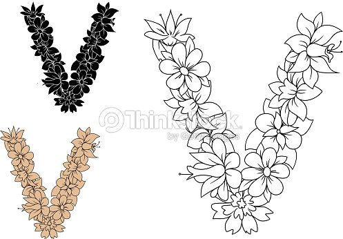 Floral letter v with retro stylized flowers vector art thinkstock floral letter v with retro stylized flowers vector art altavistaventures Images