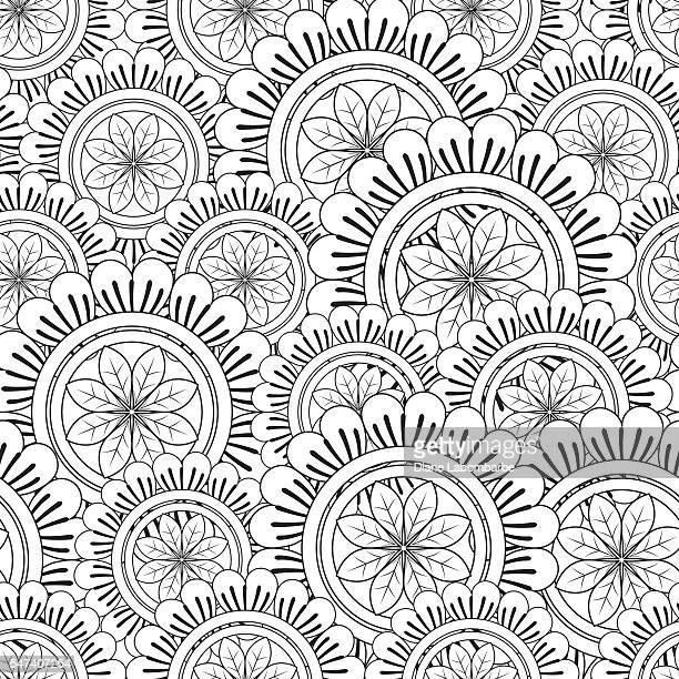 Floral Mandala Pattern Adult Coloring Page.