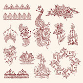 Floral mehendi flowers vintage pattern ornament vector illustration hand drawn henna india background textile