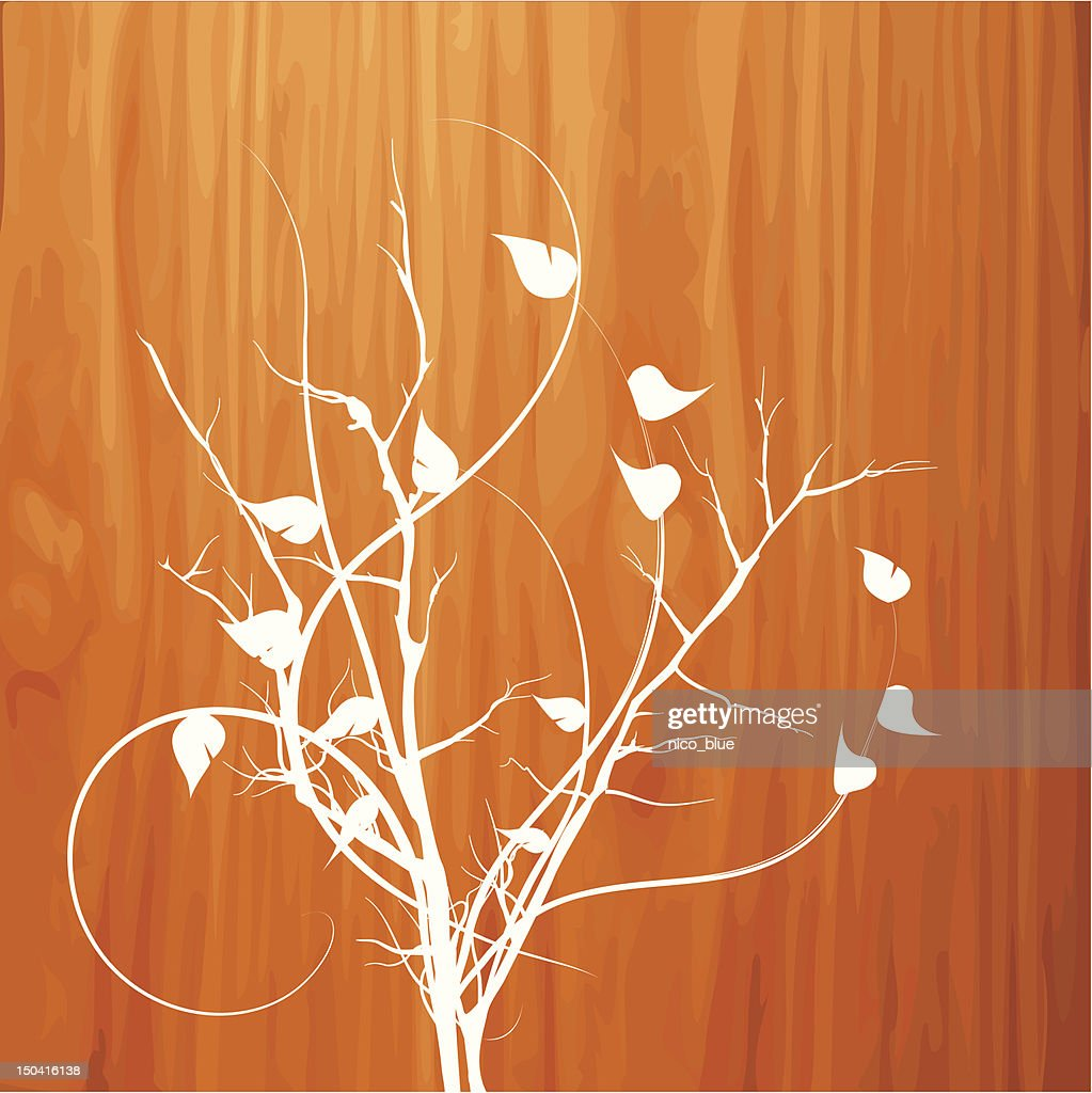 Floral on wood : Vector Art
