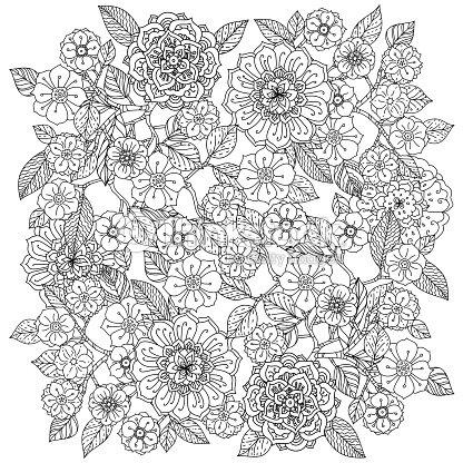 Floral Ornament Art Of Mandala Style Zen Patters Vector