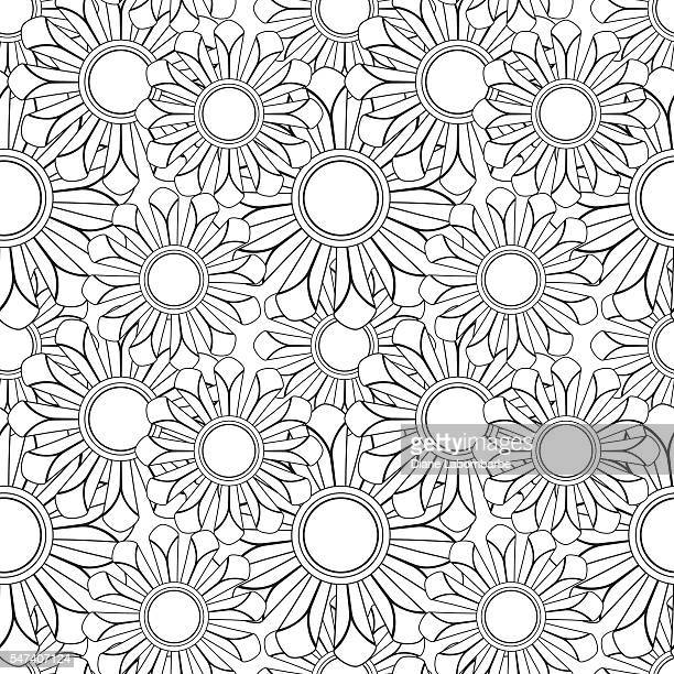 Floral Pattern Adult Coloring Page.