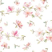 Watercolor flowers seamless pattern. Pink flowers and leafs. Beautiful background