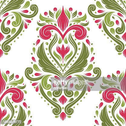 Floral Seamless Pattern Folk Ornament Vector Vintage Elements