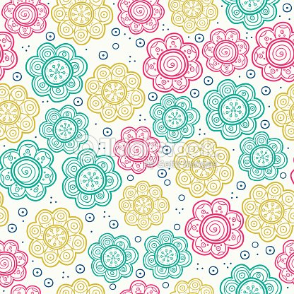 Floral seamless pattern vector illustration background - Decoration vintage pas cher ...
