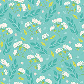 Floral seamless pattern with leaves, branches, flowers and berries. Perfect for wallpaper, gift paper, web page background, Easter greeting cards