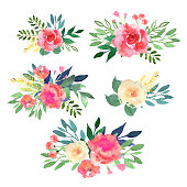 Floral set. Collection with flowers, drawing watercolor. Design for invitation, wedding or greeting cards. Vector illustration.