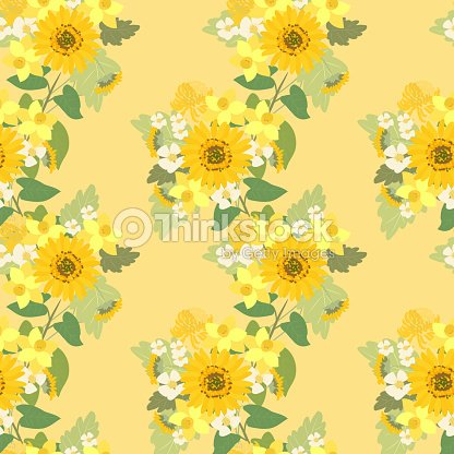 Floral Sunflower Narcissus Strawberry Flowers Retro Vintage Background Vector Art