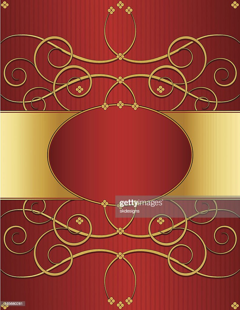 Floral Swirl Background Design Red And Shiny Gold Vector ...