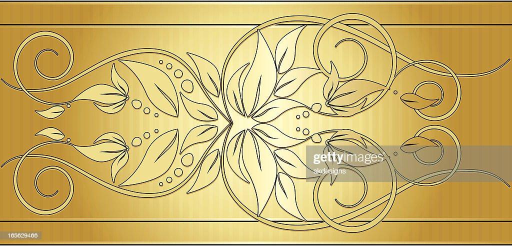 Floral Swirl Border Background Design Element Gold Vector ...