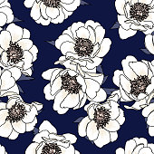 Pretty floral vector design for backgrounds, textiles, fashion print, website, etc. Seamless tileable pattern.
