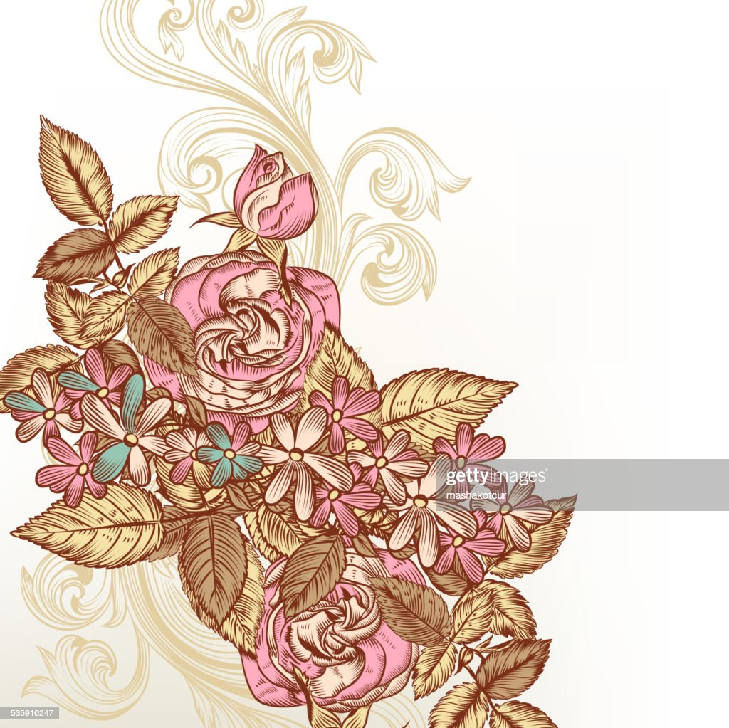 De fundo vector Floral com rosas : Arte vetorial