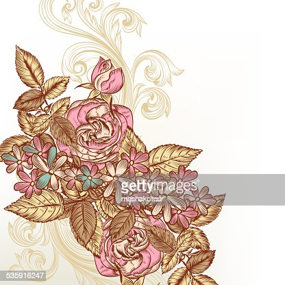 Floral vector background with roses : Vector Art