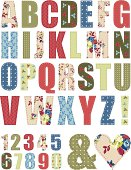 Floral Vector Pattern Alphabet Letter Set. Use to create words to add to craft projects.