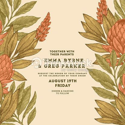 Floral vintage wedding invitation protea botanical vintage floral vintage wedding invitation protea botanical vintage background vector illustration arte vetorial stopboris Gallery
