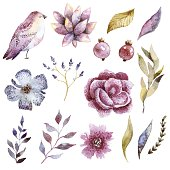 Floral watercolor set with bird. Beautiful clip art, perfect fox wedding design.