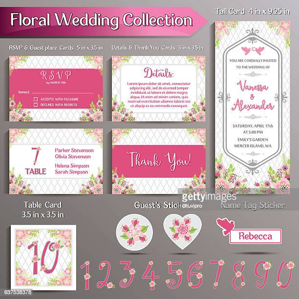 Floral Wedding Invitation set. US format