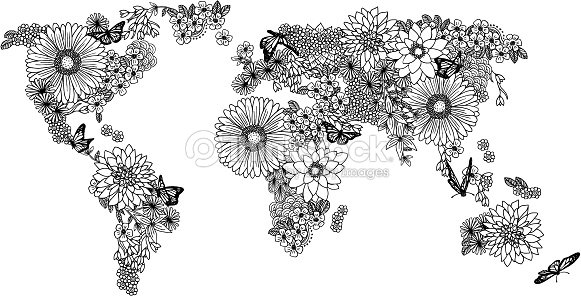 Floral world map for coloring books vector art thinkstock floral world map for coloring books vector art gumiabroncs Gallery