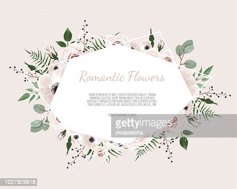 Floral wreath with green eucalyptus leaves, flower rose, anemone . Frame border with copy space eps10 : stock vector