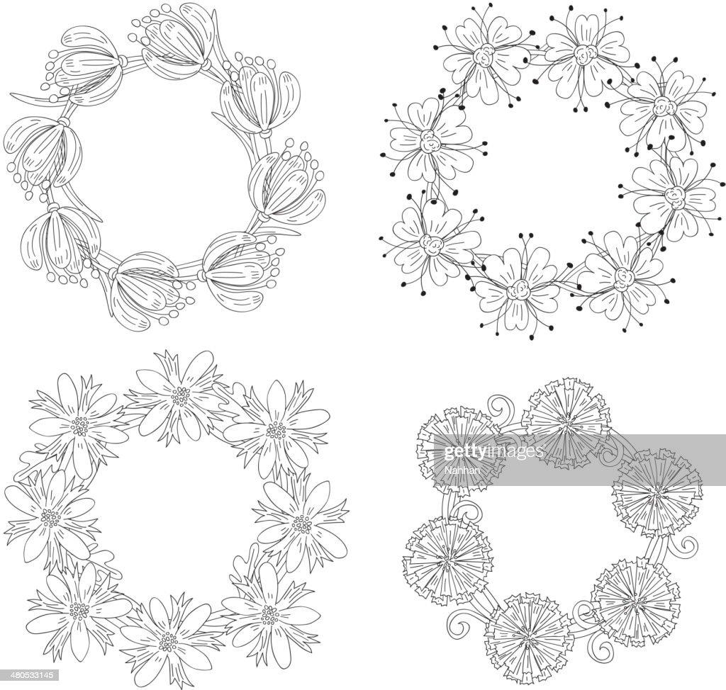 Floral wreaths : Vector Art