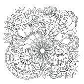 Hand drawn doodle composition with flowers and mandalas for clothes print, decorate stationery, case phone, dishes, porcelain, ceramics, adult antistress coloring book. eps 10