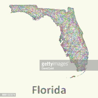Florida line art map : Vector Art