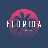 Florida Miami Ocean Drive t-shirt and apparel design with palm tree and halftoned sun, vector illustration, typography, print, symbol, poster. Global swatches.