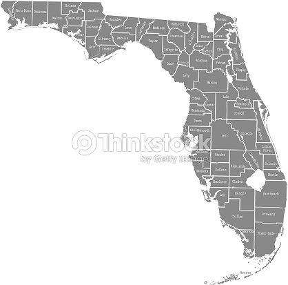 Florida State Of Usa County Map Vector Outlines Illustration With - Florida-in-us-map