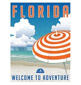 Florida travel poster or sticker. Vector illustration of scenic beach with striped umbrella.