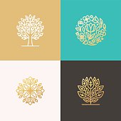 Set of vector simple and elegant logo design templates in trendy linear style made with golden foil - abstract emblems for floral shops or studios, wedding florists, creators of custom floral arrangem