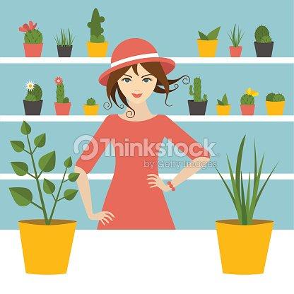 Fleuriste femme vente dans le magasin de fleurs cran plat - Fleuriste dessin ...