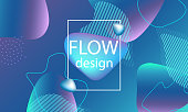 Flow shapes background. Wavy abstract cover design. Creative liquid colorful wallpaper. Trendy gradient poster. Vector illustration.
