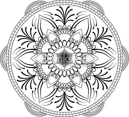 Mandala De La Flor Negra Modelo Oriental Ilustración Del Vector ...