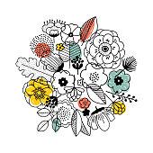 Flower bouquet composition. Linear graphic. Florals background. Scandinavian style.