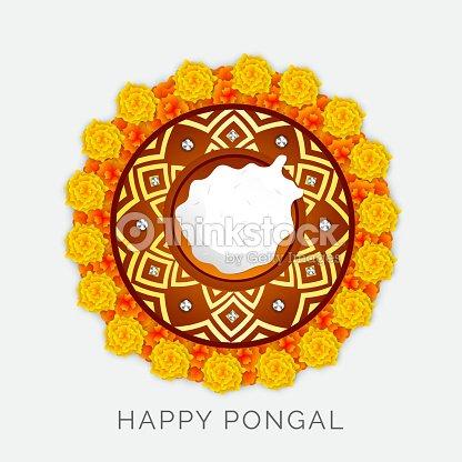 Flower Decorated Rangoli For Happy Pongal Celebrations Vector Art