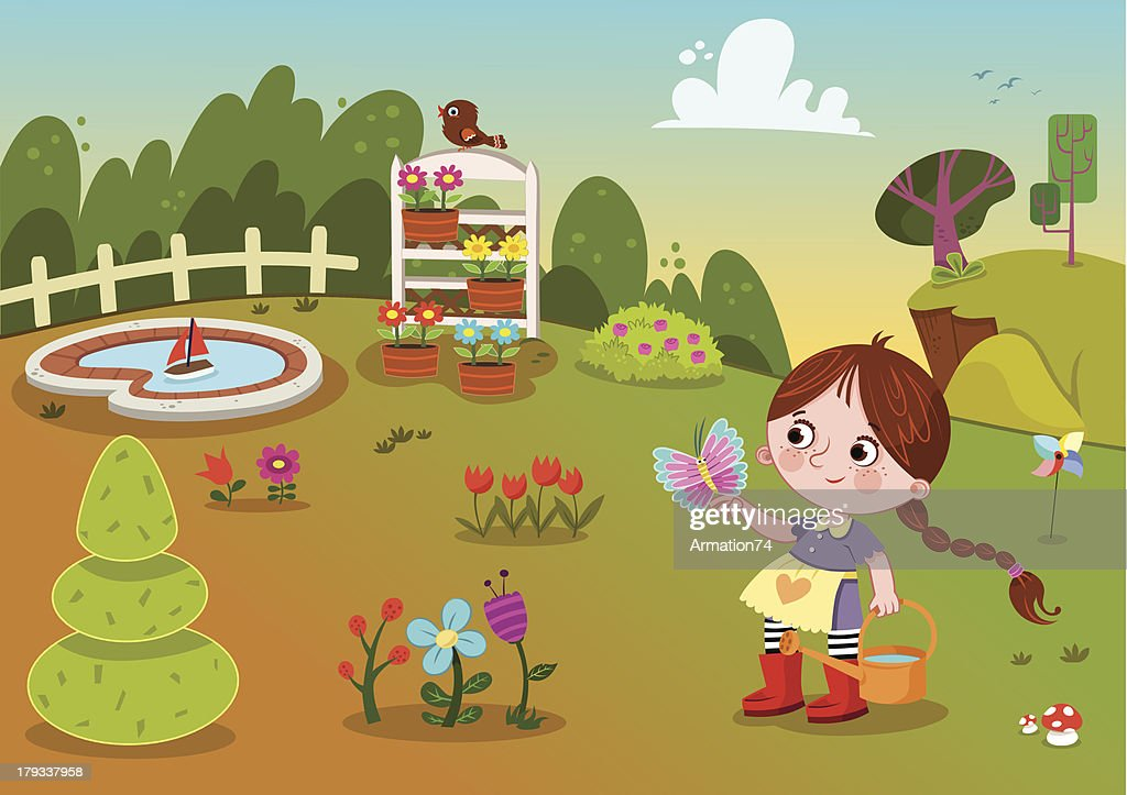 Flower Garden And Girl : Vector Art