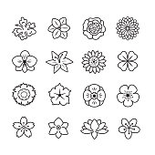 Flower icon set, thin line , set of 16 editable filled, Simple clearly defined shapes in one color.