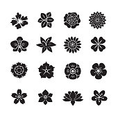 Flower icon set, set of 16 editable filled, Simple clearly defined shapes in one color.