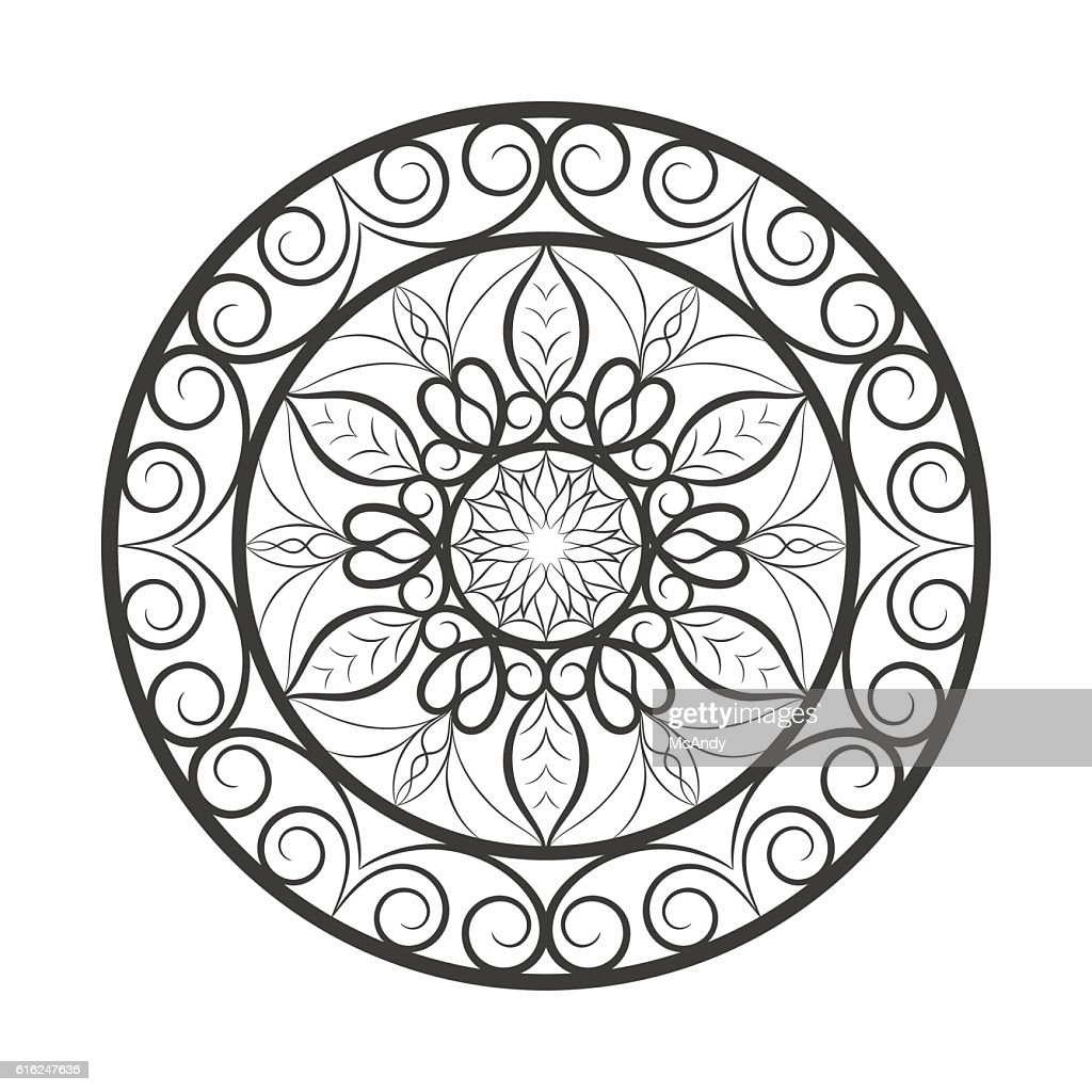 Flower mandala over white : Arte vetorial