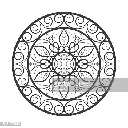 Flower mandala over white : Arte vectorial