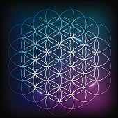 Flower Of Life. Sacred geometry. Vector element with vibrant gradient