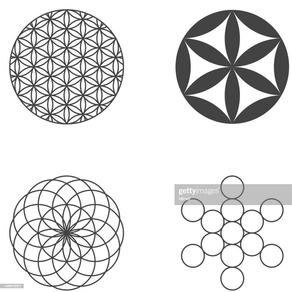 flower of life set of icons design elements vector art getty images. Black Bedroom Furniture Sets. Home Design Ideas