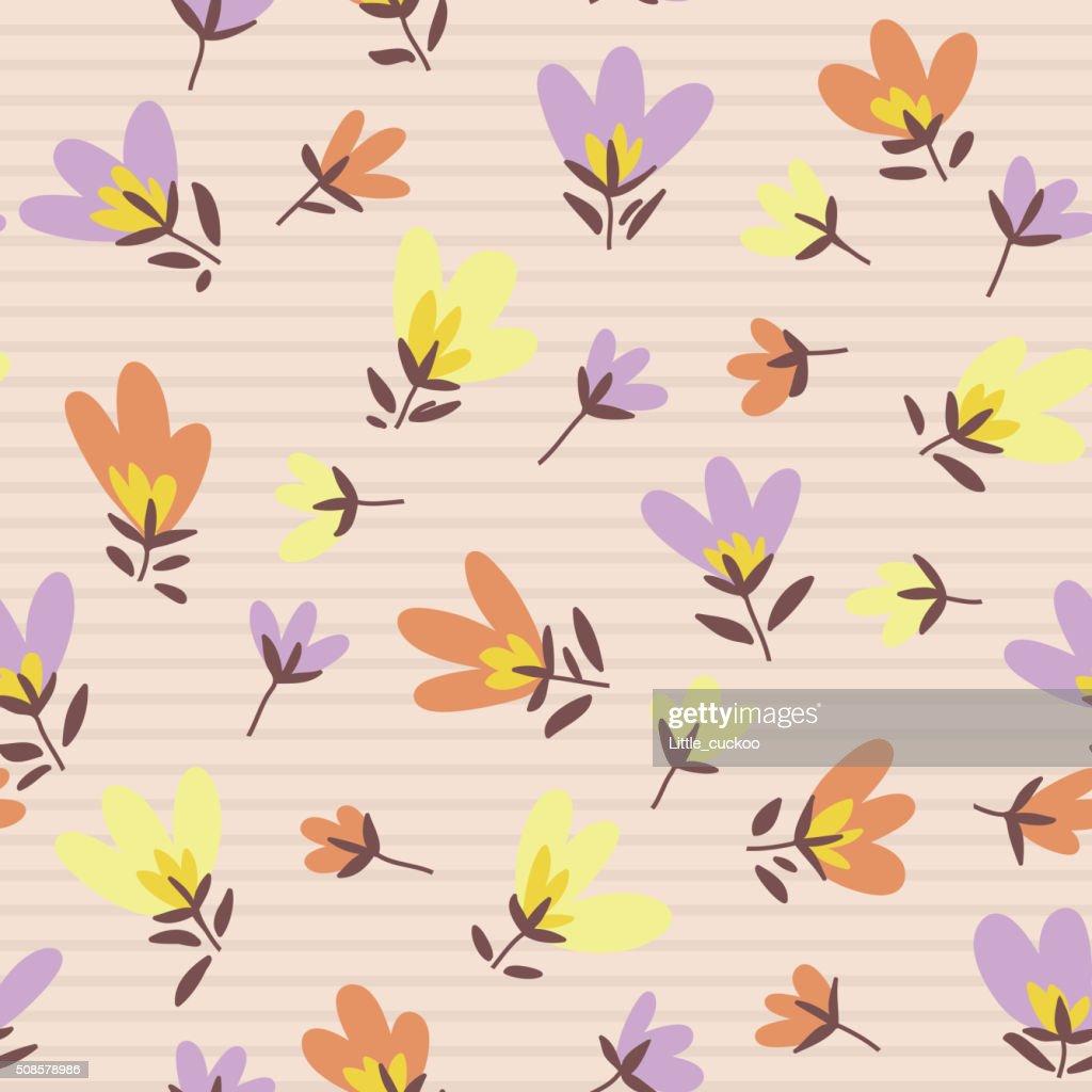 Blumenmuster versehen. Frühling Vektor handgezeichnete Gekritzel : Vektorgrafik