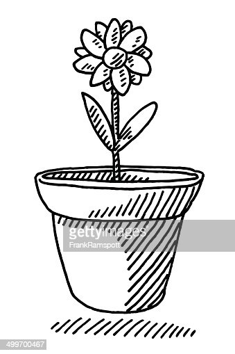 printable flower pot coloring page free pdf download at http potted plant growing timelapse drawing vector art getty images