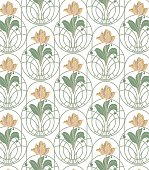 beige flowers with  leaves and green pattern on white background