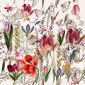Flower vector pattern with assorted plants. Vintage provance style