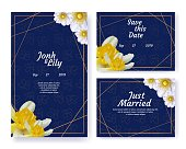 Flower Wedding Invite Geometric Frames Set. Bridal Posters and Anniversary Announcements with Greeting Text on Dark Blue Floral Backdrop. Yellow Narcissus and White Anemones Buds. Vector Illustration
