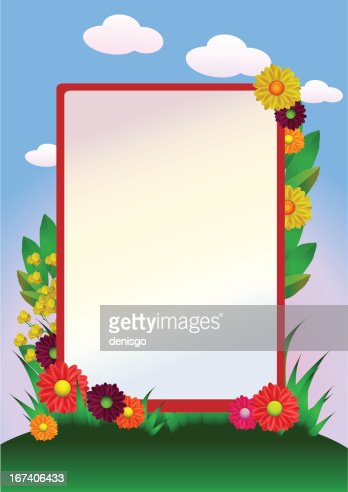 flowers border with grass and sky : Vector Art